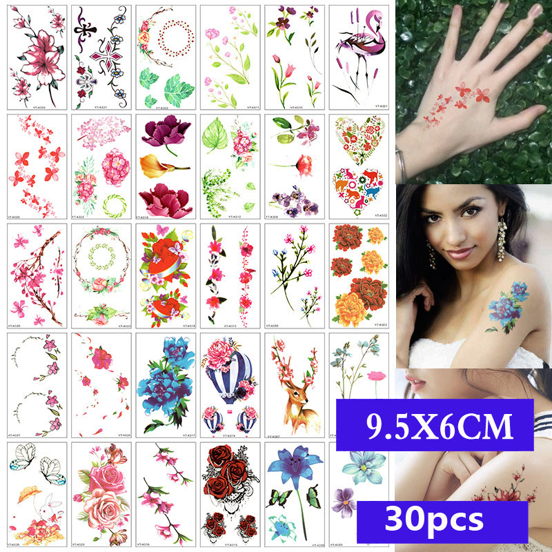 30 Pieces/set Water Transfer SC Body Tatoo Waterproof Temporary Tattoo Sticker Flower Skull Decal Art Fake Beauty 3D