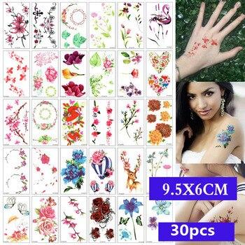 30 unids/set transferencia de agua SC tatuaje corporal impermeable tatuaje temporal pegatina flor calcomanía de cráneo arte belleza falsa 3D