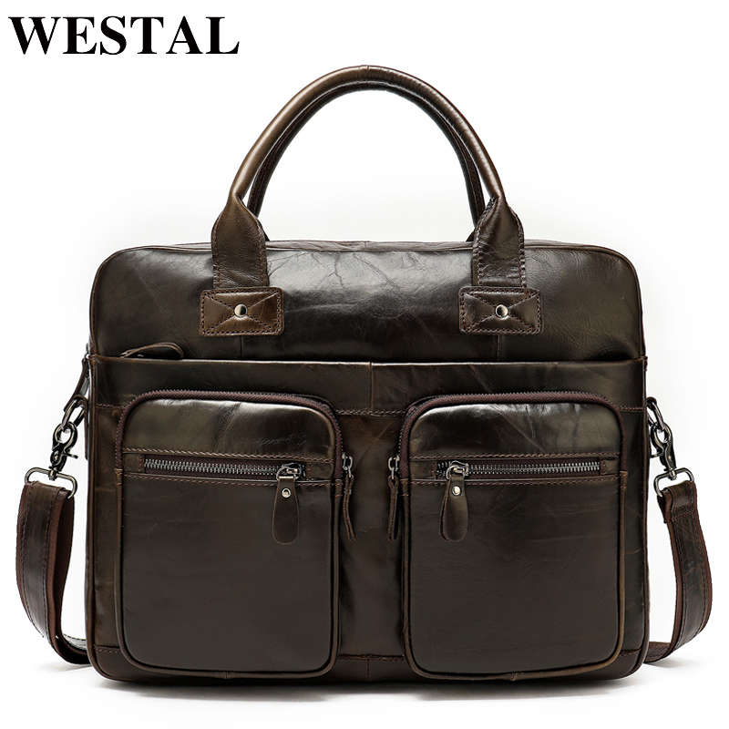WESTAL 100% genuine leather bag for mens briefcase office laptop bag A4 lawyer portfolio bag leather male cartable homme 8380WESTAL 100% genuine leather bag for mens briefcase office laptop bag A4 lawyer portfolio bag leather male cartable homme 8380