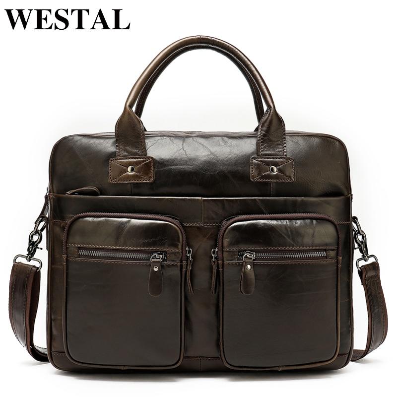 WESTAL 100% sac en cuir véritable pour homme porte-documents bureau pochette d'ordinateur A4 portefeuille avocat sac en cuir homme cartable homme 8380