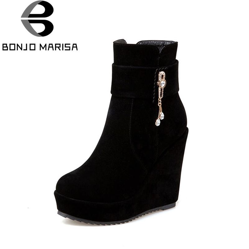 BONJOMARISA Women's High Heel Wedge Ankle Boots Woman Round Toe Platform Spring Shoes Big Size 34-43 women round toe ankle boots woman fashion platform wedge botas ladies brand suede leather high heel shoes footwear size 34 47
