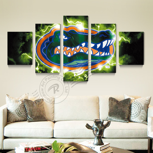 5 Panel Florida Gators Sport Logo Wall Painting Cuadros Canvas Picture Art Home Decor For Bed
