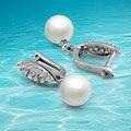 925 pendientes de perlas de plata, versión coreana exagerada pendientes