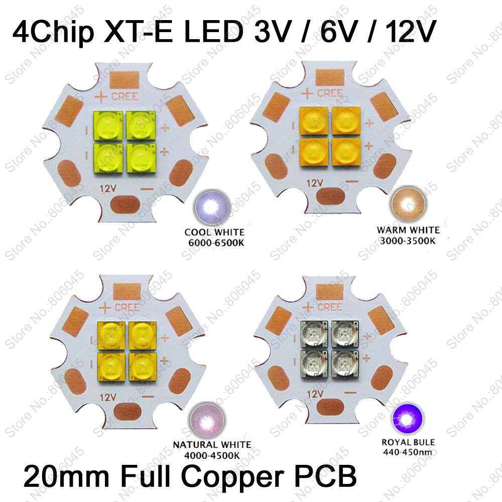 1pcs cree xhp50 xhp70 6000k cool white 18w 35w led emitter 6v 12v with 16mm 20mm for ultra high brightness head lamp car bulbs Cree XT-E XTE 3V 6V 12V 4Chips High Power LED Emitter Cool White Warm White Neutral White Royal Blue Colors on 20mm Copper PCB