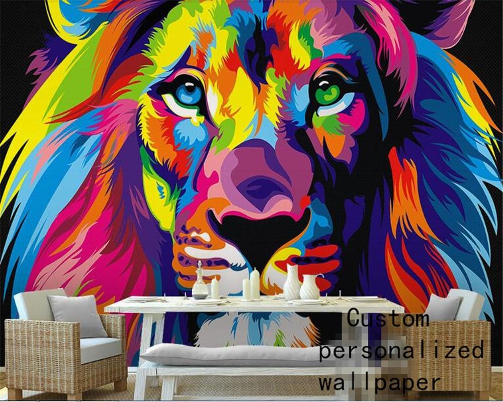 Beibehang Wallpaper Home Decoration Custom Behang Art Abstract Oil Painting Lion Head 3d Mural Wallpaper Decoration Wallpaper 3d