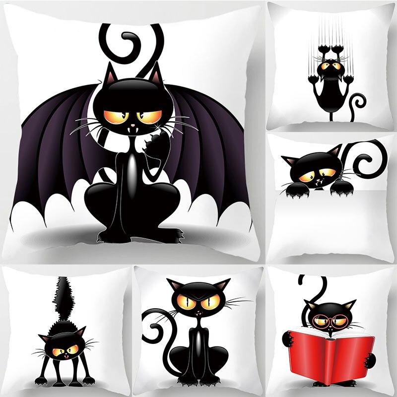 YWZN Halloween Demon Cat Throw Pillow Case Halloween Cat Decorative Pillowcase Halloween Cat Printing Pillow Case Kussensloop