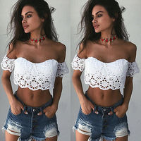 For 2017 Women Newest Summer Lace Crochet Padded Crop Tops Off Shoulder White Blouse