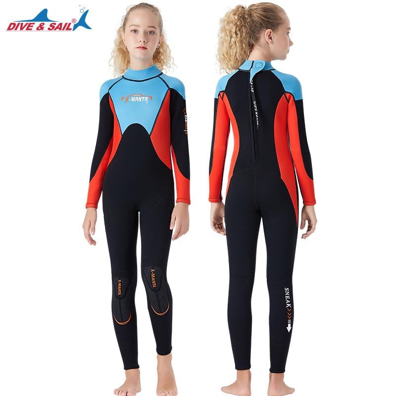 Подростковый цельный костюм для дайвинга с длинными рукавами 2,5 мм, неопреновый плотный теплый гидрокостюм для девочек, одежда для купания, Рашгард, костюм для подводного плавания и серфинга
