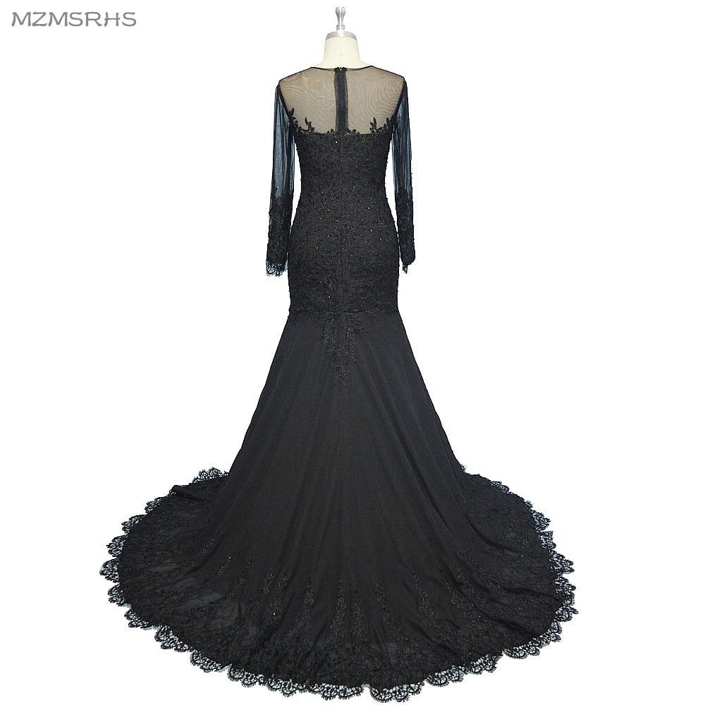 Langarm V-Ausschnitt langes Abendkleid Meerjungfrau schwarzer Spitze - Kleider für besondere Anlässe - Foto 2