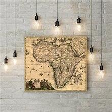 Gran oferta de pegatinas Retro de África con mapa Vintage tribal para casa, Bar, Pub, lienzo para pared, imágenes impresas