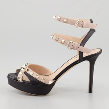 Charming Rivets Simple Women Sandals Open Toe Ankle Straps Thin High Heels Ladies Shoes For Work Cross Straps Ankle Strap