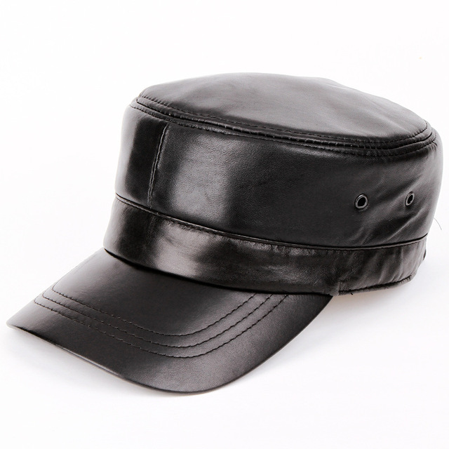 e6d4b16a1eaa High quality Genuine Leather sheepskin hat cap casual casual military hat  men and women autumn winter solid flat snapback caps