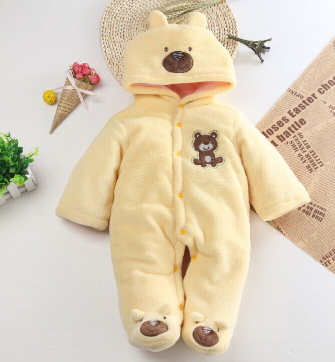 Autumn Winter Cotton Baby Romper Long Sleeve Coverall Hooded Infant Jumpsuit with Bear for Toodler unisex winter baby clothes long sleeve hooded baby romper one piece covered button infant baby jumpsuit newborn romper for baby