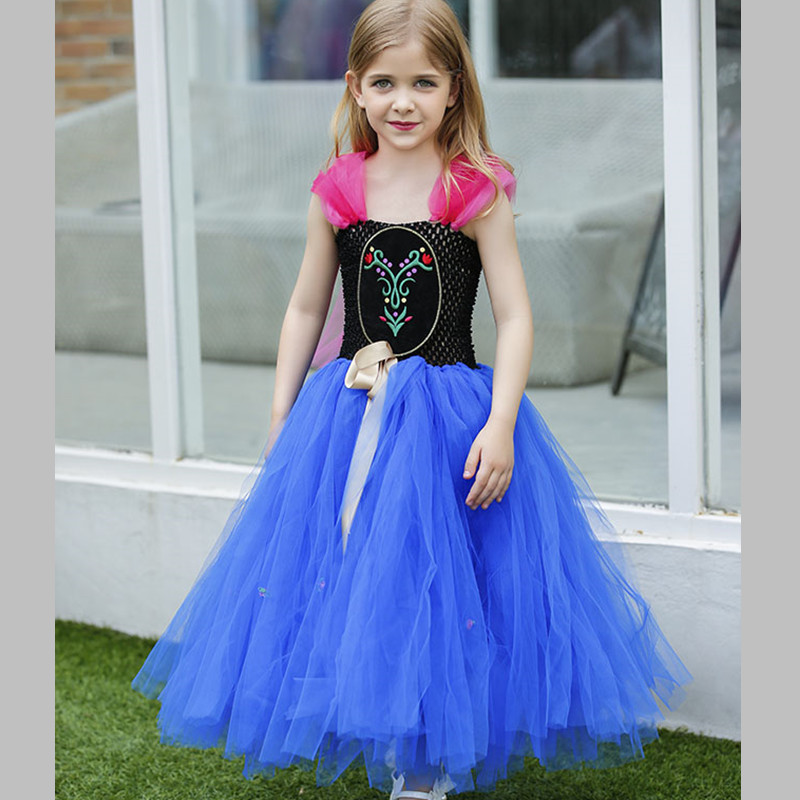 Hot Sale Anna Elsa Dress Girl Kids Princess Tulle Tutu Dress Cosplay Elsa Costume For Party Gowns Disfraces Infantiles Princesa elsa dress sparkling snow queen elsa princess girl party tutu dress cosplay anna elsa costume flower baby girls birthday dresses