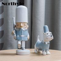 Soldier And Dog Resin Miniature Home Decoration Art Craft Kawaii Figurine Christmas Gift For Kids Xmas