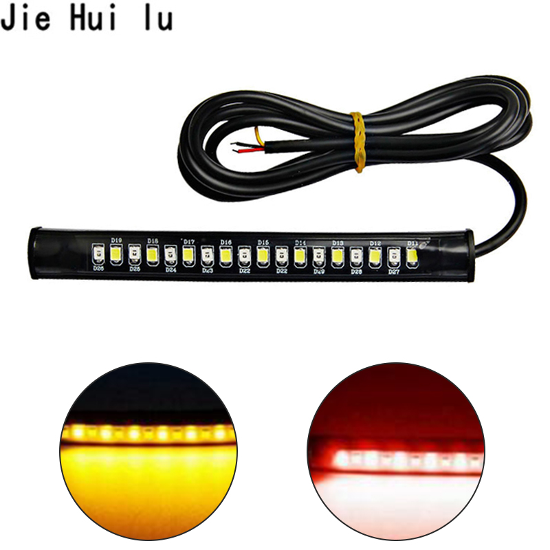 Universal Motorcycle 2835 18 smd LED Flexible Bar Strips License plate Brake Turn Signal Lamp lights light Dual Color RED YELLOW