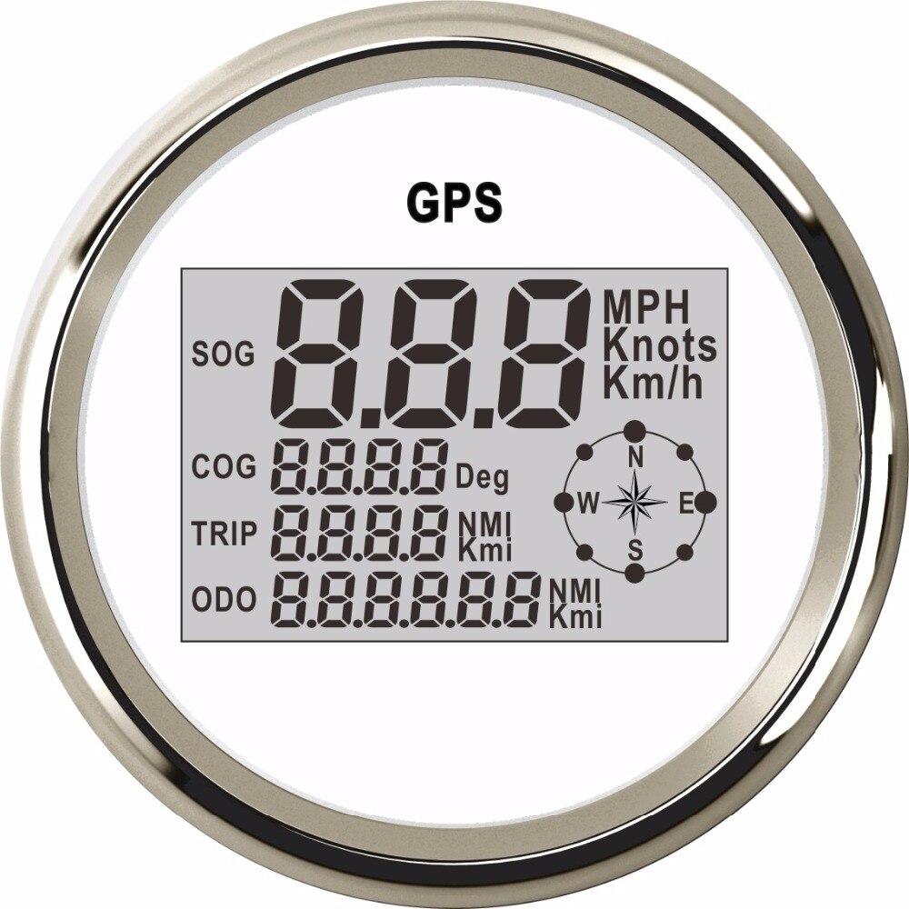 85mm Numérique Compteur De Vitesse Jauge 0 ~ 999 Noeuds MPH Km/h Réglable LCD Jauge de Vitesse Bateau En forme De Voiture GPS Compteur De Vitesse Compteur 9 ~ 32 v