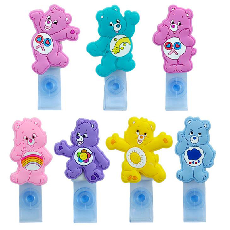 1 Pcs Kawaii Colorful Heart Bears Animals Trasparent Retractable Badge Reel Student ID Name Card Badge Holder Clips Stationery