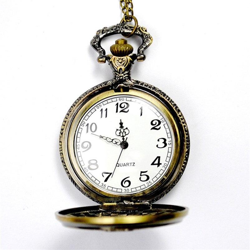 Винтаж часы Для женщин Для мужчин S Цепочки и ожерелья кварцевые часы Ретро Бронзовый Волшебная палочка Подвеска карманные Часы Для мужчин ...
