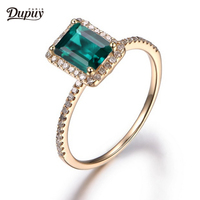 DUPUY 6*8mm Emerald Cut Lab Created Emerald Ring Halo Diamonds Stackable 14K Yellow Gold Engagement Ring Anniversary Gift
