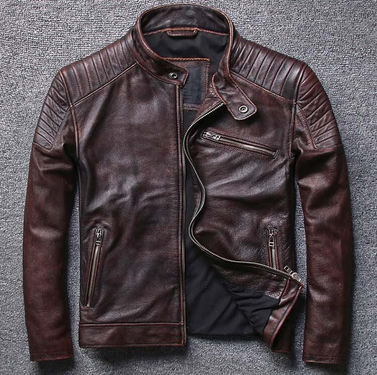 Vintage 2019 genuino degli uomini della pelle bovina di cuoio cappotto maschile breve moto biker giacca marrone nero più grande big size xxxxl 4xl