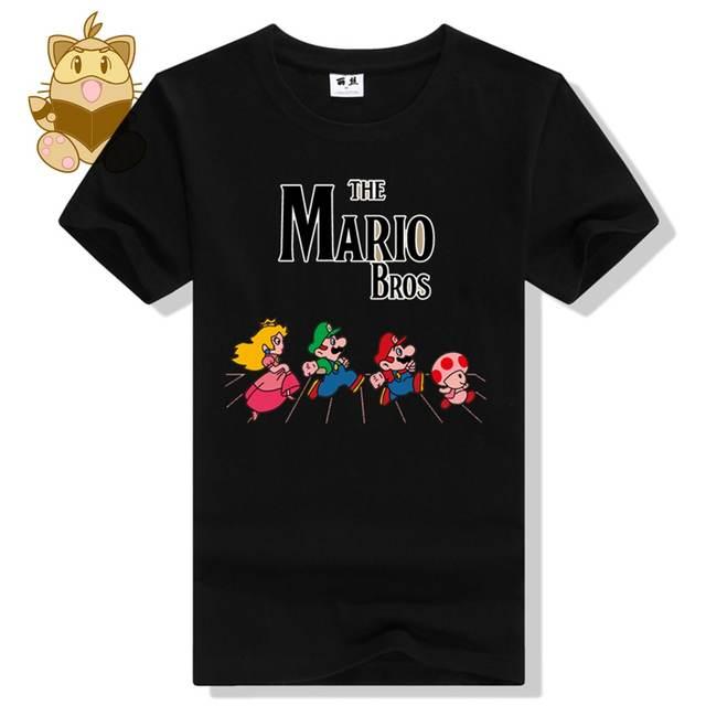 Personagem clássico jogo Super mario bros MARIO LUIGI todd Pêssego camiseta  jogo MARIO fãs t camisas f52e5f7c7fa
