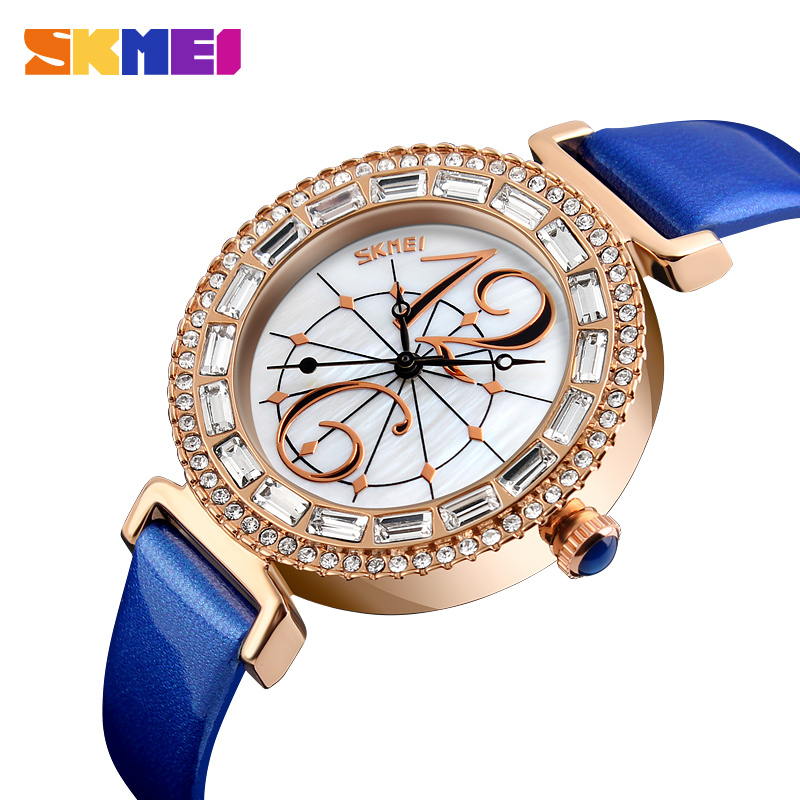 SKMEI Quartz Ladies Watches Top Brand Luxury Leather Fashion Women Watch Waterproof Wristwatches Relogio Feminino Montre Femme skmei women watches leather strap quartz woman wristwatches top brand luxury ladies watch small dial 2018 new style montre femme