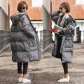 Novo 2016 Mulheres de Inverno Casaco Amassado Jaqueta de Médio-longo Espessamento Parka Com Capuz Coreano Moda Roupas Femininas Tamanho XS-3XL