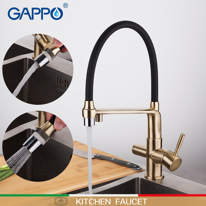 GAPPO Kitchen Faucet Gold And Black Water Taps Filter Faucets Mixer Rotatable Kitchen Water Purifier Mixers Deck Mounted