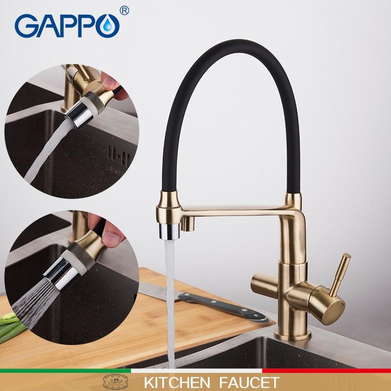GAPPO mutfak musluk altın ve siyah su muslukları filtre musluk mikser dönebilen mutfak su arıtıcısı mikserler güverte üstü