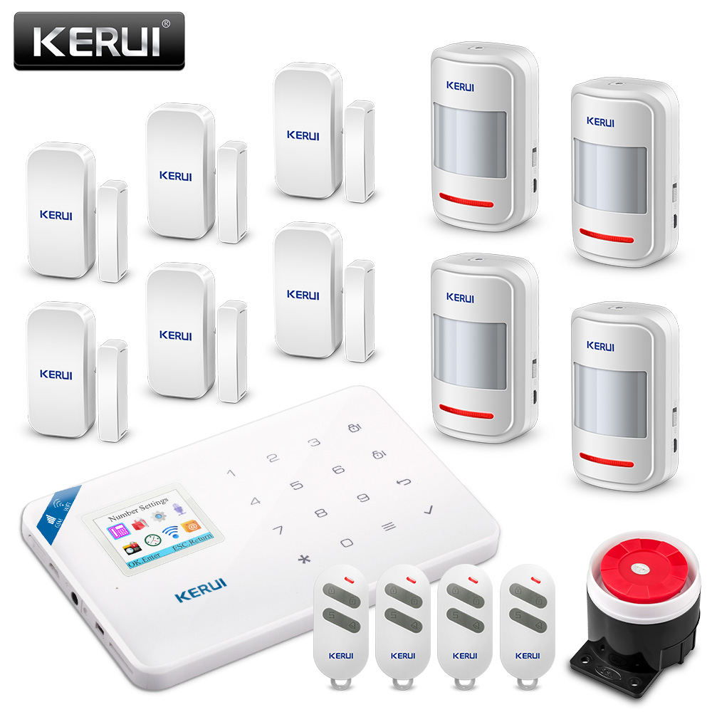 Original KERUI WIFI GSM Burglar Security Alarm System SMS APP Control Home PIR Motion detector Door Sensor Alarm Detector Alarm 433mhz dual network gsm pstn sms house burglar security alarm system fire smoke detector door window sensor kit remote control