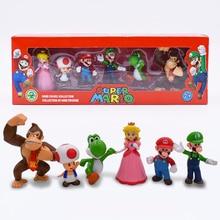 цены на 6 Style Super Mario Bros Figure Donkey Kong Peach Toad Mario Luigi Yoshi PVC Action Figures Set Cartoon Dolls Model Toys  в интернет-магазинах