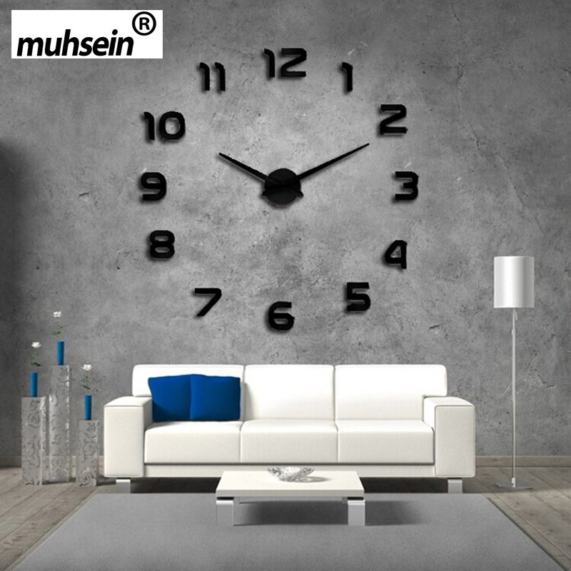 2017 new clock watch wall clocks horloge 3d diy acrylic mirror Stickers Home Decoration Living Room Quartz Needle free shipping
