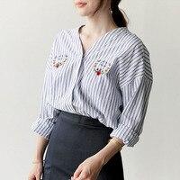 Embroidery Blouse Long Sleeve Shirt Women Tops Blusas Mujer De Moda 2017 Striped Shirts Women Blouses
