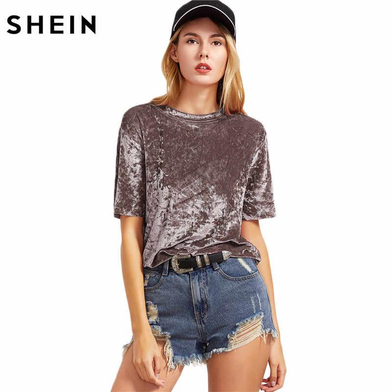 Шеин футболка Для женщин Лето 2017 Для женщин s Топы Кофе короткий рукав из  мятого бархата 99a9bc778abb0