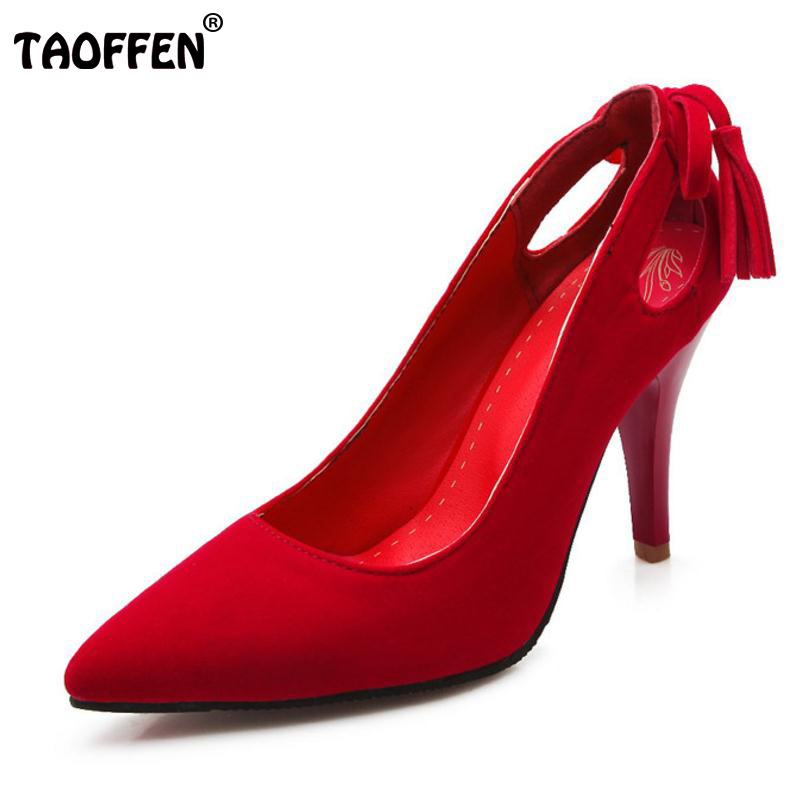 TAOFFEN Spring/Autumn Women Red Wedding Shoes Woman Sexy Pointed Toe Slip-On Ladies Party High Heels Pumps Size 28-52 P24211 womens shoes high heel woman pumps spring autumn basic silk slip on pointed toe thin heels sexy wedding shoes ljx04 q
