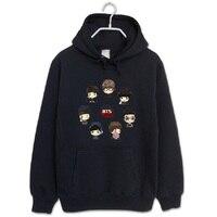 Fashion hoodies bts bangtan boys all member Q cartoon black pullover for men women kpop sweatshirt plus size tracksuit wholesale