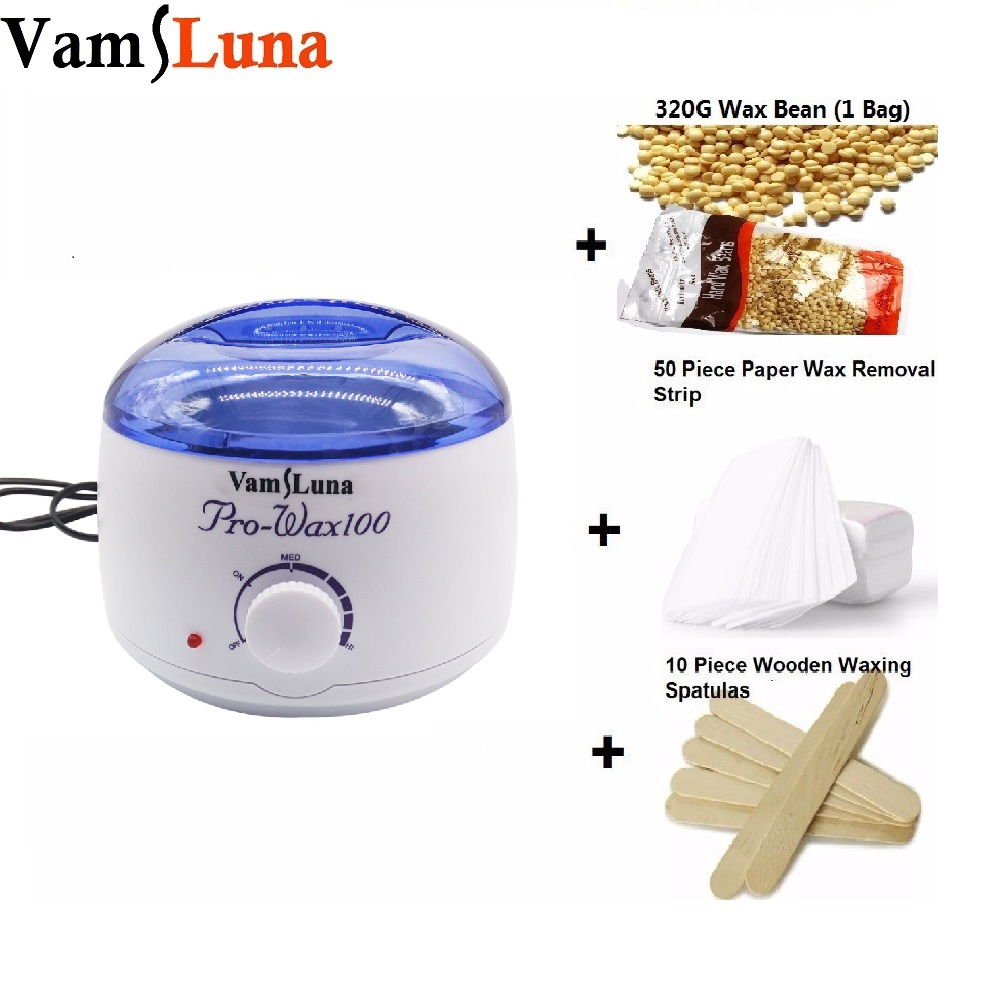 Wax heater Depilatory Waxing Kit 500ML Wax Warmer Pot 250g Wax Bean 10 Wooden Spatulas 50 Removal Strip For Hair Removal in Epilators from Home Appliances
