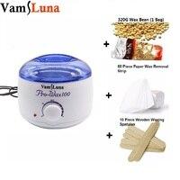 Wax heater & Depilatory Waxing Kit 500ML Wax Warmer Pot, 250g Wax Bean, 10 Wooden Spatulas & 50 Removal Strip For Hair Removal