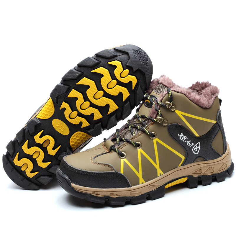 Haute Pause Acier Chaussures Coton Mâle Beige Piercing Anti Sécurité Velours Travail De Protection Baotou D'hiver x1vAR