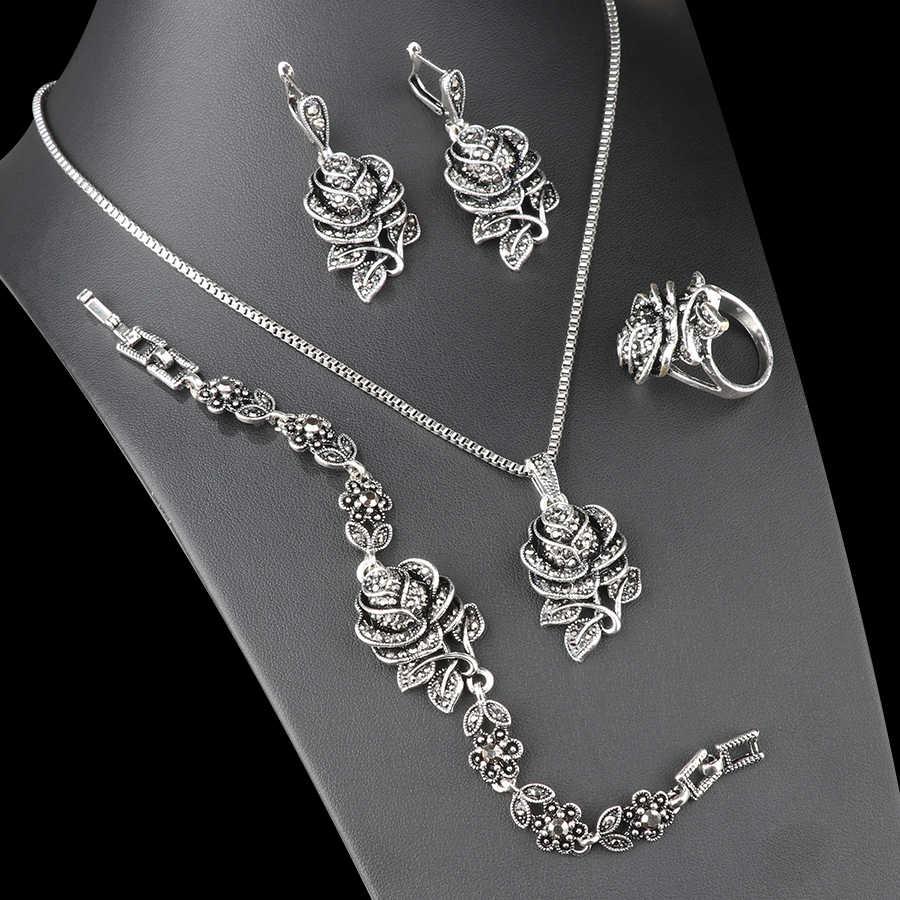 Kinel แฟชั่นเงิน Vintage งานแต่งงานชุดเครื่องประดับคริสตัลสีดำ Rose ดอกไม้แหวนชุดเครื่องประดับสำหรับของขวัญ Party Party