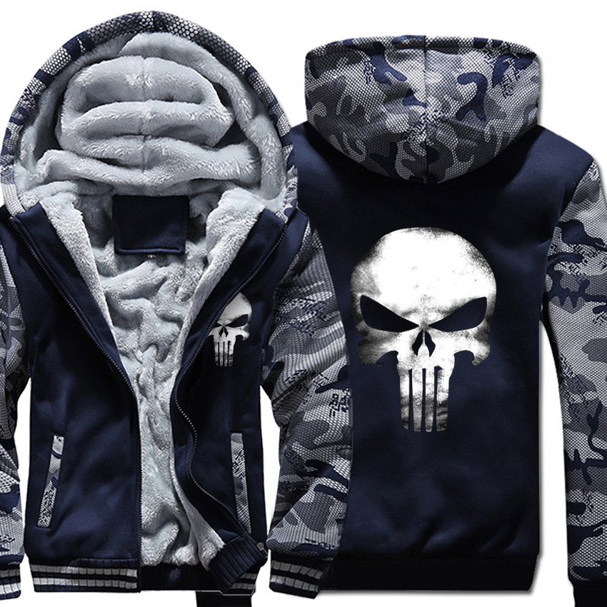 Skull Hoodies Men Swag Hooded Sweatshirt Winter Thick Warm Fleece Harajuku Hip Hop Streetwear Punk Rock Camouflage Jacket