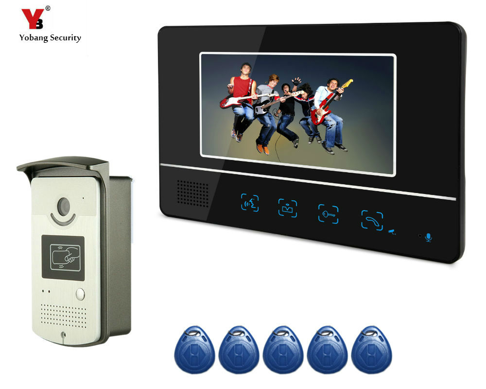 Yobang Security 7 Home Video Intercom Door phone System With 1 Monitor + 1 Camera Hands Free Monitor Intercom Doorbell yobang security free ship 7 video doorbell camera video intercom system rainproof video door camera home security tft monitor