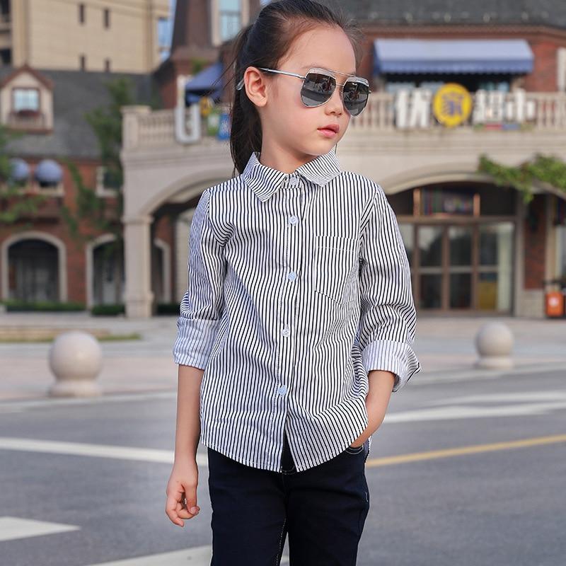 Baby Girls Loose Long-sleeved Shirt Spring Autumn Korean Cotton Long Stripe Shirts Children Hot Kids Clothing
