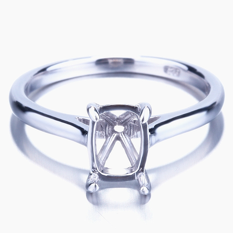 HELON 7.5x5mm to 8.5x6mm Cushion Cut Solid 10K White Gold Engagement Wedding Semi Mount Solitaire Ring For Women Fine Jewelry