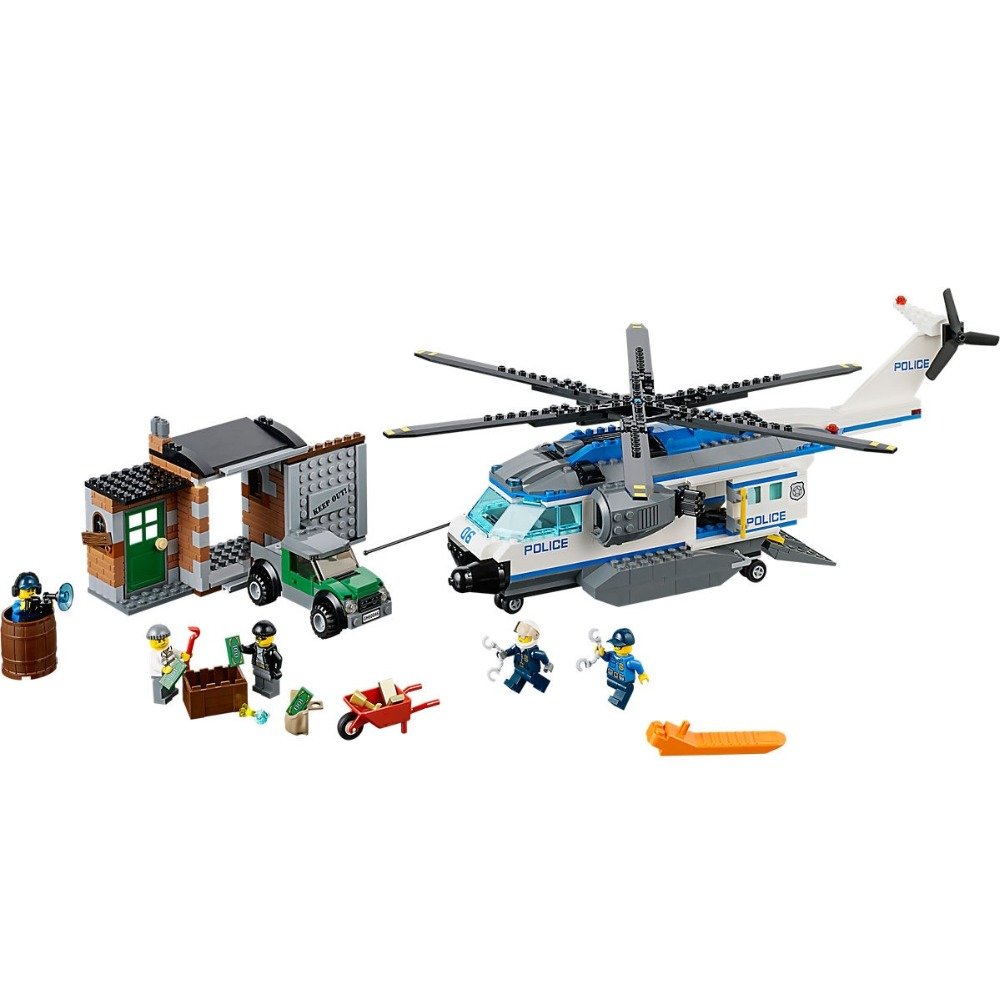 Helicopter Surveillance Compatible Legoe City Police 60046 Model Building Blocks Bricks toys for childrens kid gift model building blocks bricks diy creative brick toys educational bulk bricks kid gift set city boy girl game compatible legoe