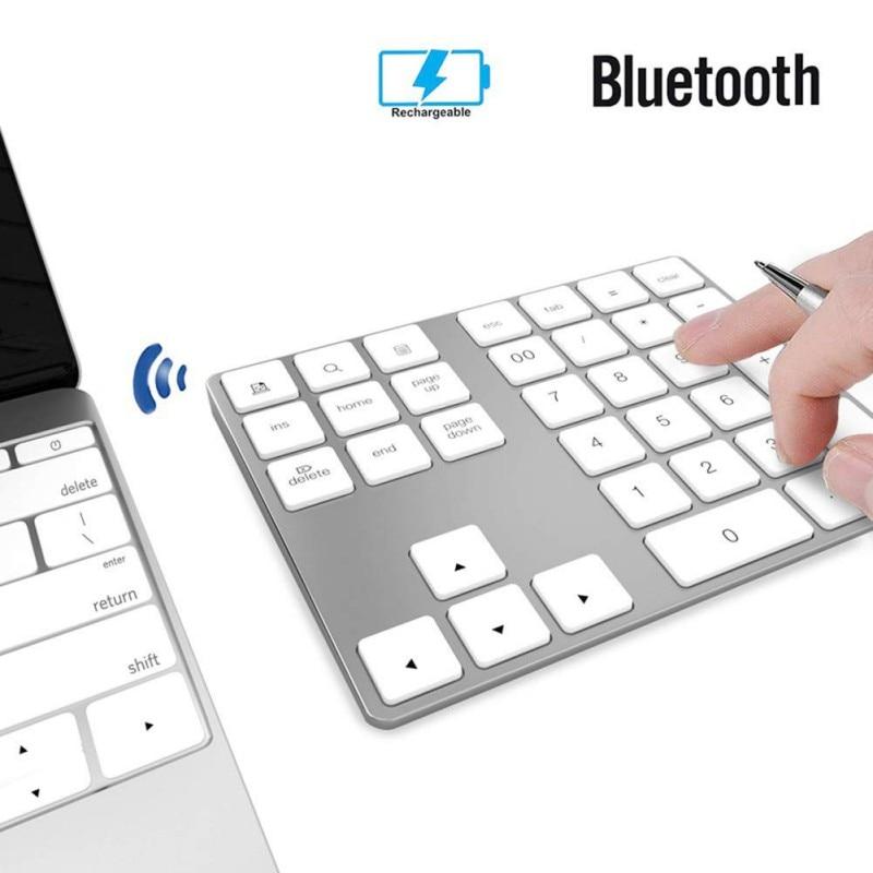 Mini Keypads Aluminum Wireless Numeric keypad BT Pad 34 Keys External Number Keyboard Shortcut Bluetooth