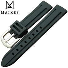 MAIKES High Quality Silicon Rubber sports Watch Strap 18mm 20mm 22mm New Arrival 3D Line Pattern Black watch band