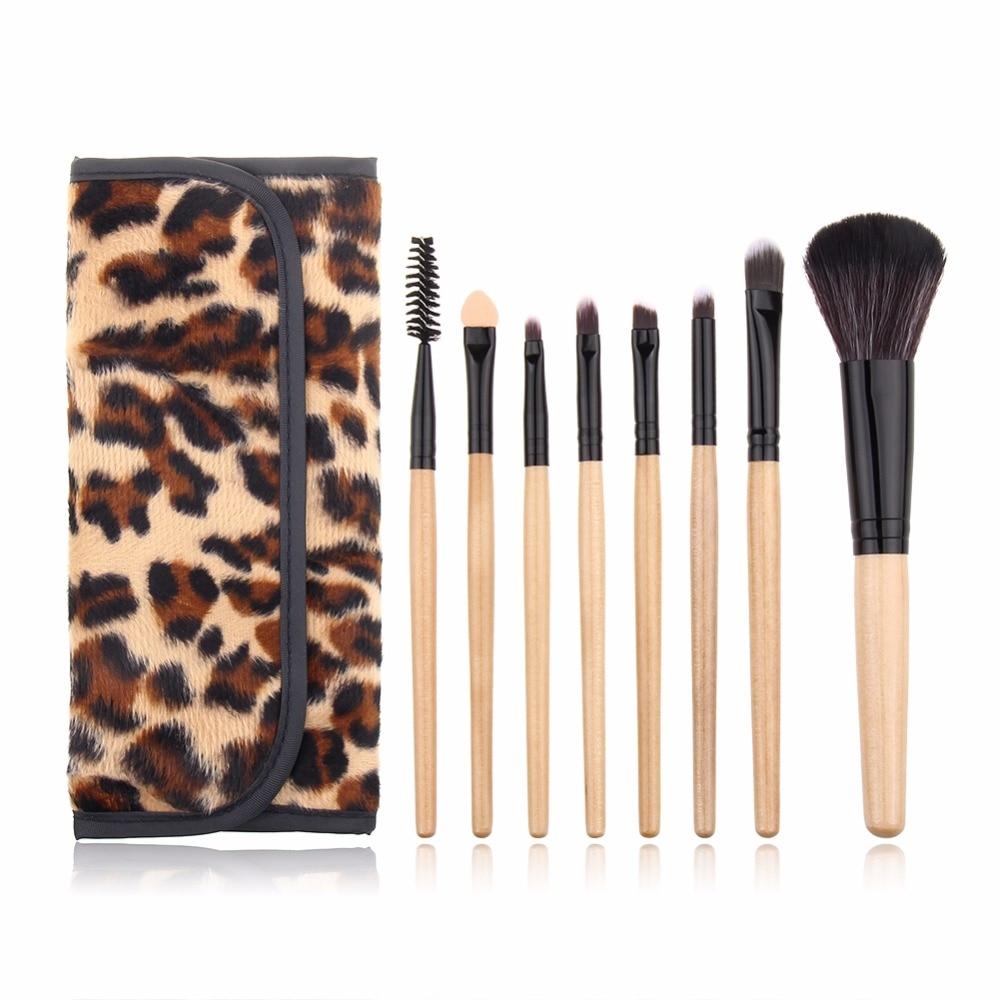 косметичка none 20 8 7 cosmetic bag Professional 8 PCS Makeup Brush Set Cosmetic Tool Leopard Bag Beauty Brushes foundation brush kits
