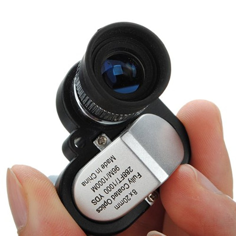 Outdoor Mini 8X20 Pocket Monocular Telescope Eyepiece with 4X Magnifier Microscope Portable Scope With Lanyard